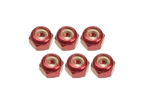 3Racing 2mm Aluminum Lock Nuts (6 Pcs) - Red
