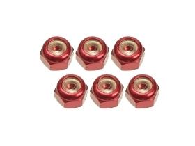 3Racing 2mm Aluminum Lock Nuts (6 Pcs) - Red