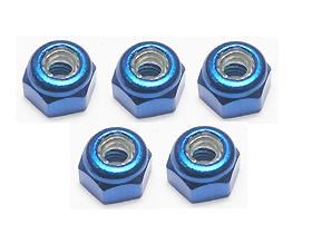 3RACING 3MM ALUMINUM LOCK NUTS (BLUE) - 5 PCS
