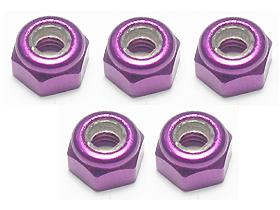 3RACING 3MM ALUMINUM LOCK NUTS (PURPLE) - 5 PCS