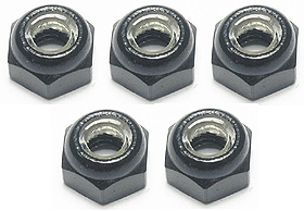 3RACING 4MM ALUMINUM LOCK NUTS (BLACK) - 5 PCS