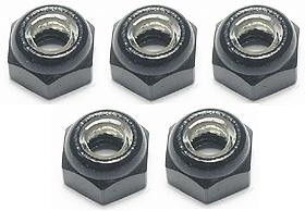 3RACING 4MM ALUMINUM LOCK NUTS (BLACK) - 5 PCS