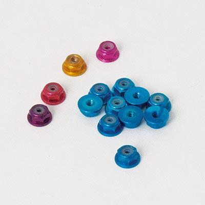 Ansmann Alu Nylon nut w.flange blue 4mm (10pcs)