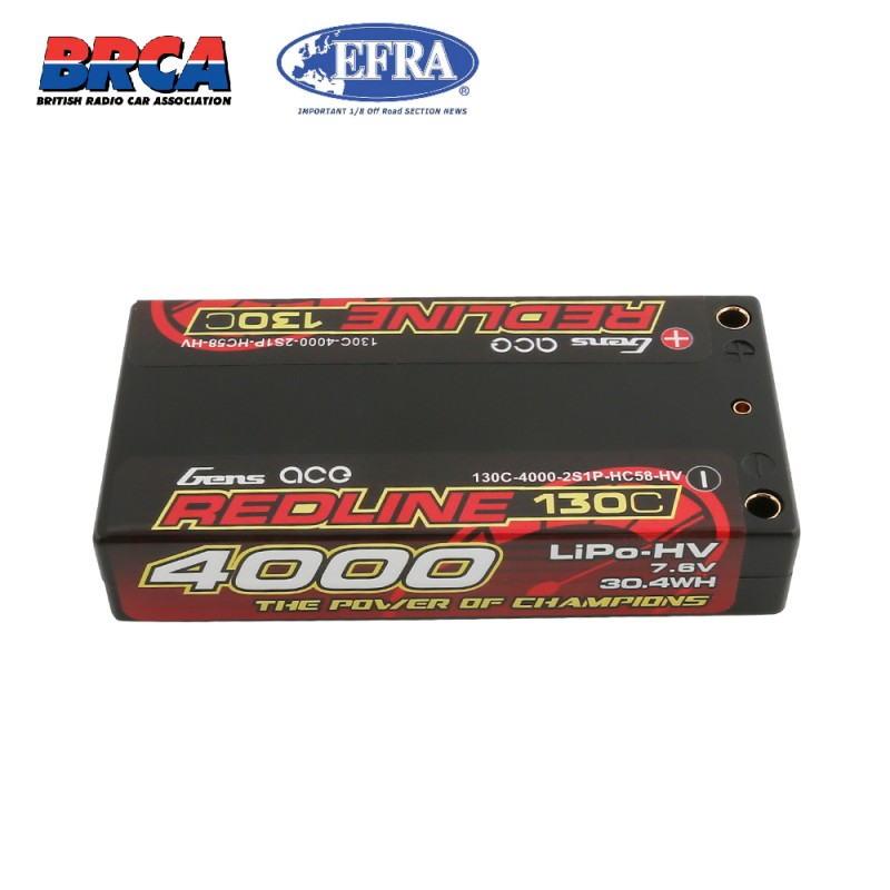 Gens ace Redline Series Shorty 4000mAh 7.6V 2S 130C HV LiPo (4mm 147g)