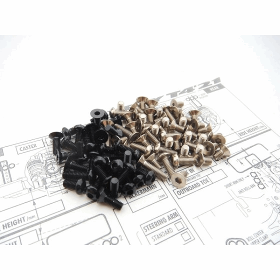 Hiro Seiko T421 Titan/Alum Hex Socket Screw Set (Black|108pcs)