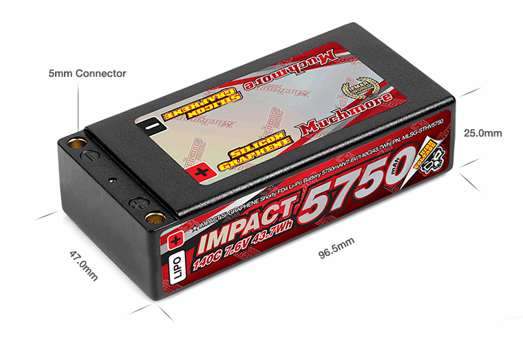 MuchMore IMPACT (Silicon Graphene) Shorty FD4 Li-Po Battery 5750mAh/7.6V 140C Flat Hard Case