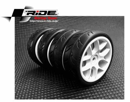 Ride 1/10 Slick Tires Precut 24mm Pre-glued with 10 Spoke Wheel White 4pcs