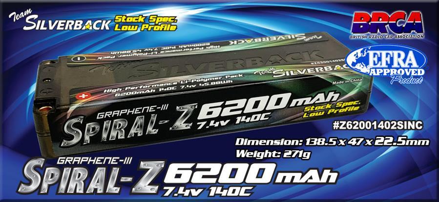 Silverback Spiral-Z 6200mAh 140C 7.4V LCG (5mm Bullet) Stock Spec.
