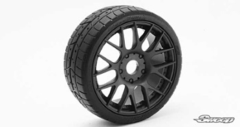 Sweep 1:8 GT Tires 40 Shore Treaded Pre-Glued Black Wheel (2 pcs)