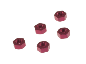 T.O.P. Racing Aluminum Flat Nut M3 Red (5pcs)