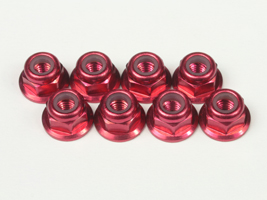 T.O.P. Racing M3 Aluminum Flange Nylon Red (8 pcs)