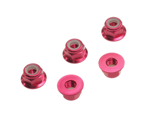T.O.P. Racing M4 Aluminum Flange Nylon Nut Red (5 pcs)