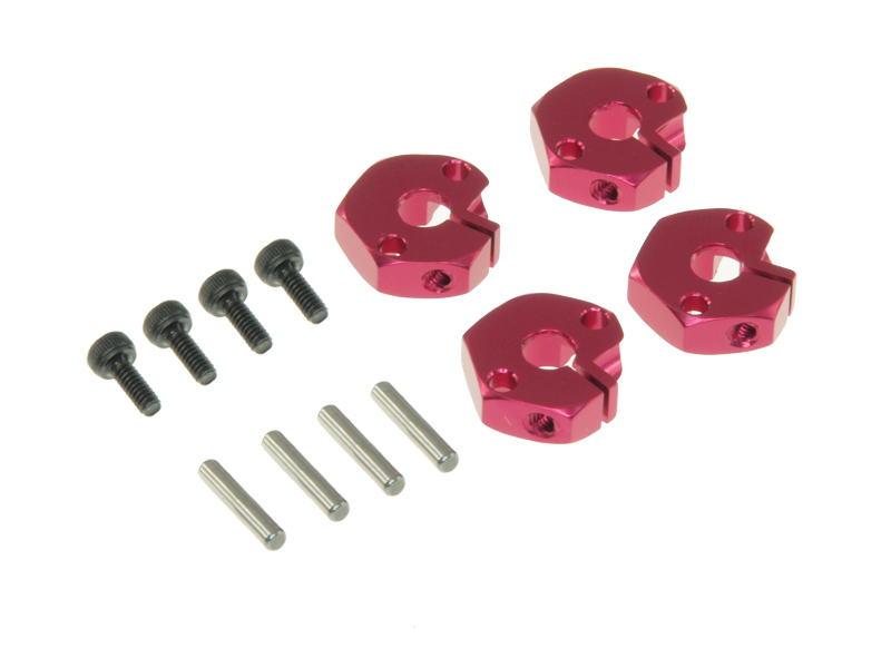 T.O.P. Racing Clamp Type 4.5mm Hex wheel Adapter Set - Red (4pcs)